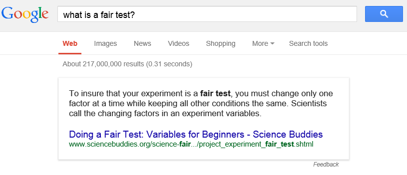Hey Google, what is a fair test?