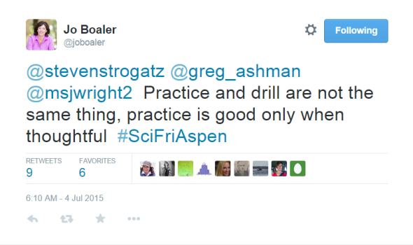 Boaler Tweet - Drill or Practice