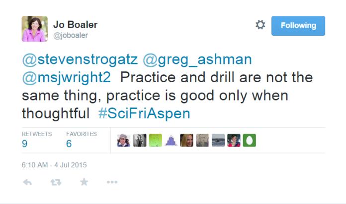 Boaler Tweet - Drill or Practice