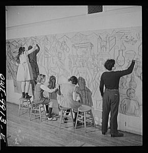 Four_students_working_on_the_preliminary_sketches_of_a_mural_depicting_the_history_of_Peru8d23055v