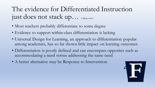 Differentiation: It is now time to think again   Filling the pail